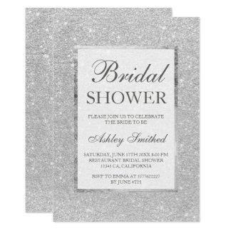 Faux silver glitter modern elegant Bridal shower Card