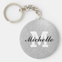 Faux silver glitter monogram key chain