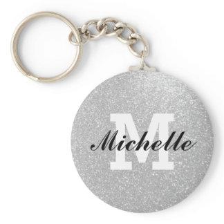 Faux silver glitter monogram key chain