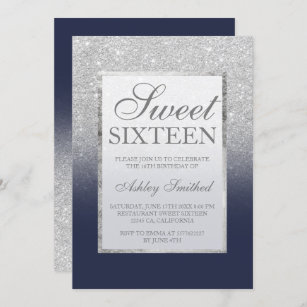 Personalised Blue and Silver Sweet 16 Birthday Party Invites inc Envelopes SE4