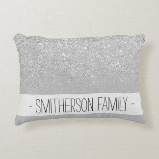Faux silver glitter ombre grey color block decorative pillow