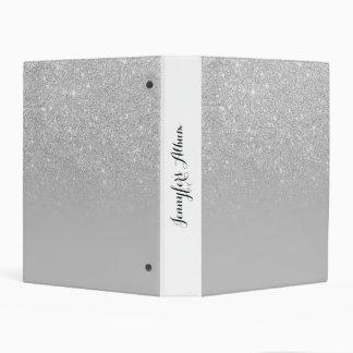 Faux silver glitter ombre grey color block mini binder