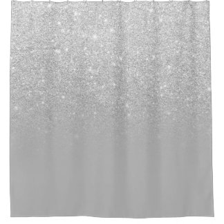 Faux silver glitter ombre grey color block shower curtain