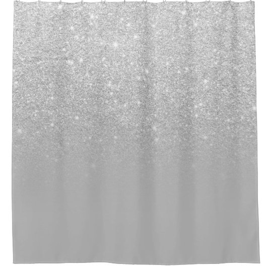 Faux Silver Glitter Ombre Grey Color Block Shower Curtain Zazzle Com