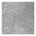 Faux Silver Glitter Photo 5.25x5.25 Square Paper Invitation Card