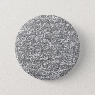 Faux Silver Glitter Pinback Button