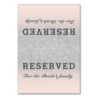 Faux silver glitter pink blush ombre reserved table number