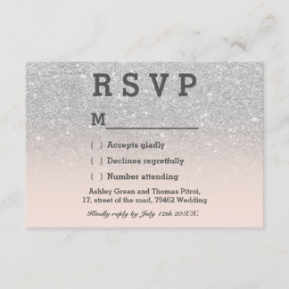 Faux silver glitter pink blush ombre RSVP wedding