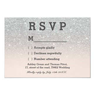 Faux silver glitter pink blush ombre RSVP wedding Card