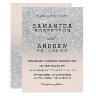 Faux silver glitter pink blush ombre wedding card