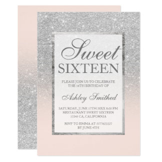 Faux silver glitter pink elegant chic Sweet 16 Card