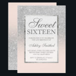 """Faux silver glitter pink elegant chic Sweet 16 Invitation<br><div class=""""desc"""">A modern,  pretty chic and elegant faux silver glitter shower ombre with blush pink color block Sweet 16 birthday party invitation with and elegant silver frame Perfect for a princess Sweet sixteen.</div>"""