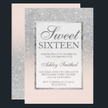 "Faux silver glitter pink elegant chic Sweet 16 Invitation<br><div class=""desc"">A modern,  pretty chic and elegant faux silver glitter shower ombre with blush pink color block Sweet 16 birthday party invitation with and elegant silver frame Perfect for a princess Sweet sixteen.</div>"