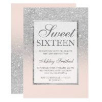 Faux silver glitter pink elegant chic Sweet 16 Invitation