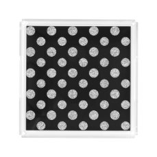 Faux Silver Glitter Polka Dots Pattern on Black Acrylic Tray