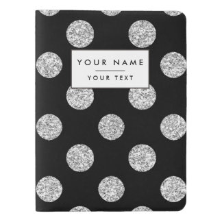 Faux Silver Glitter Polka Dots Pattern on Black Extra Large Moleskine Notebook Cover With Notebook