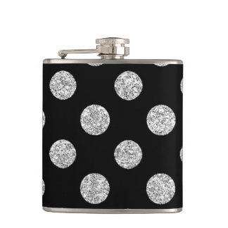 Faux Silver Glitter Polka Dots Pattern on Black Flask