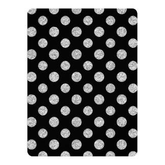 Faux Silver Glitter Polka Dots Pattern on Black Custom Invites