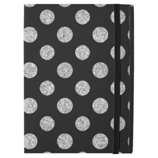 "Faux Silver Glitter Polka Dots Pattern on Black iPad Pro 12.9"" Case"