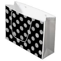 Faux Silver Glitter Polka Dots Pattern on Black Large Gift Bag