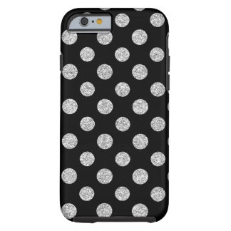 Faux Silver Glitter Polka Dots Pattern on Black Tough iPhone 6 Case