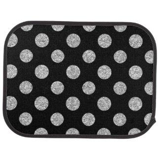Faux Silver Glitter Polka Dots Pattern on Black Car Mat