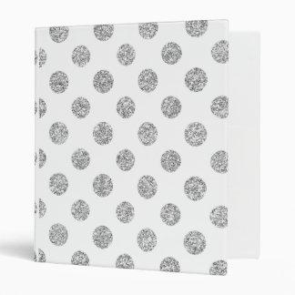 Faux Silver Glitter Polka Dots Pattern on White 3 Ring Binder