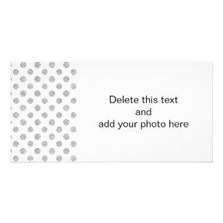 Faux Silver Glitter Polka Dots Pattern on White Card