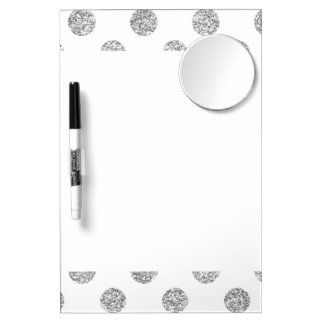 Faux Silver Glitter Polka Dots Pattern on White Dry Erase Board With Mirror