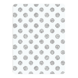 Faux Silver Glitter Polka Dots Pattern on White Customized Announcement Card