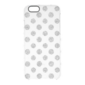 Faux Silver Glitter Polka Dots Pattern on White Uncommon Clearly™ Deflector iPhone 6 Case