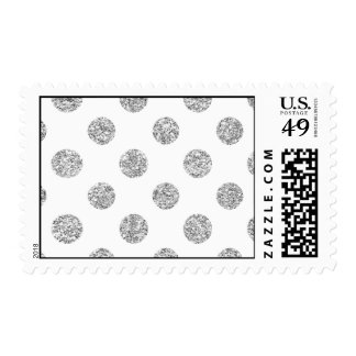 Faux Silver Glitter Polka Dots Pattern on White Postage Stamp