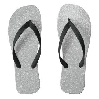 Faux silver glitter print image beach flip flops