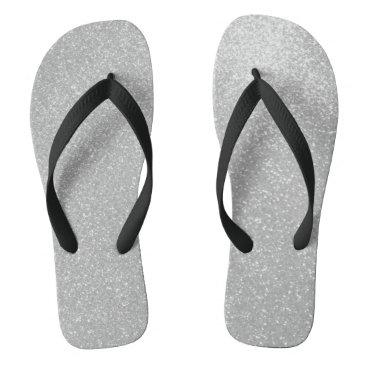 Beach Themed Faux silver glitter print image beach flip flops