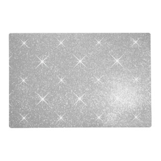 Faux silver glitter print luxury wedding placemats