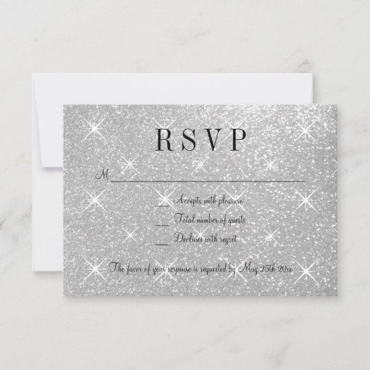 Wedding Response Cards.Faux Silver Glitter Rsvp Wedding Response Cards