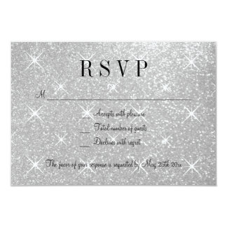 Faux silver glitter RSVP wedding response cards