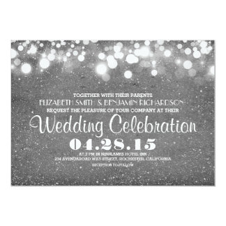 faux silver glitter string lights wedding invites