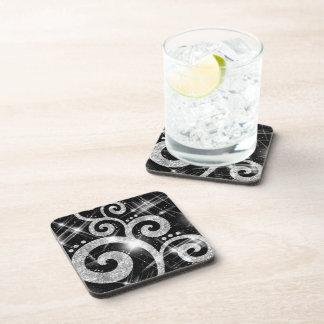 Faux Silver Glitter Swirls Beverage Coaster