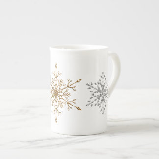 Faux Silver & Gold Glitter Snowflakes Tea Cup
