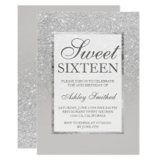 Faux silver gray glitter elegant chic Sweet 16 Card