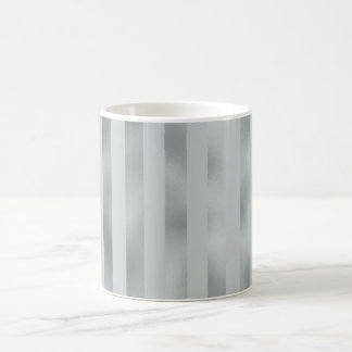 Faux Silver Gray Metallic Vertical Wide Stripe Coffee Mug