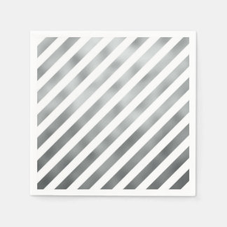 Faux Silver Gray White Metallic Diagonal Grey Napkin