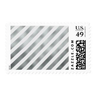 Faux Silver Gray White Metallic Diagonal Grey Postage