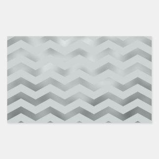 Faux Silver Grey Foil Chevron Zig Zag Texture Rectangular Sticker