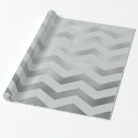 Faux Silver Grey Foil Chevron Zig Zag Texture Wrapping Paper