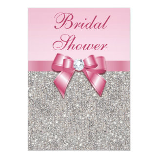 Faux Silver Jewels Pink Bow Diamonds Bridal Shower Card
