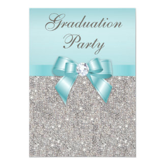 Faux Silver Jewels Teal Bow Girls Graduation Party Card