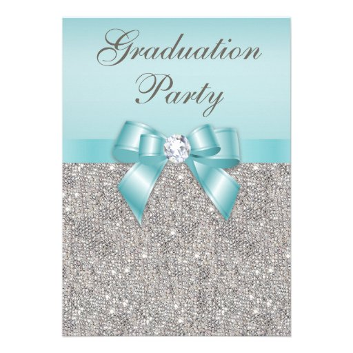 Faux Silver Jewels Teal Bow Girls Graduation Party Invite