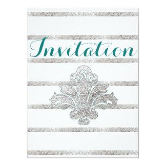 Faux Silver Leaf Damask Engagement Invitation Teal